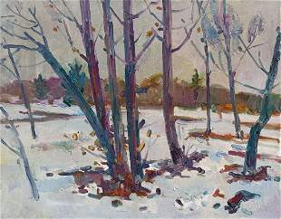 Oil painting Winter evening in the forest Peter Tovpev