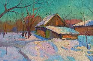 Oil painting Winter evening Peter Tovpev