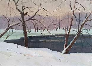 Oil painting Winter landscape Peter Tovpev
