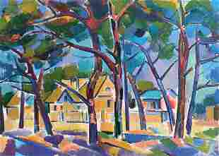 Oil painting City landscape Peter Tovpev