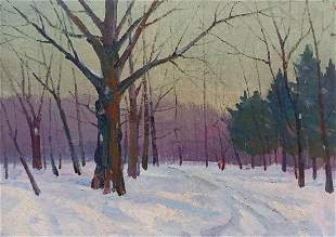 Oil painting Road to the forest Peter Tovpev