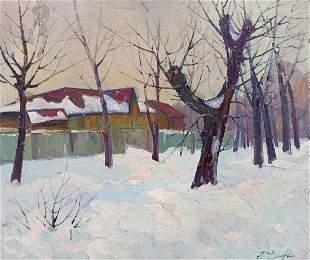 Oil painting Rural landscape Peter Tovpev