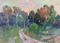 Oil painting Forest landscape Peter Tovpev