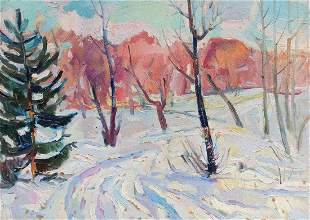 Oil painting First day of winter Peter Tovpev