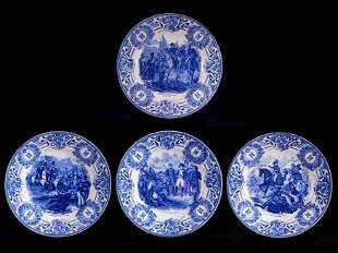 Very elegant set of 1920s-1930s white faïence plates