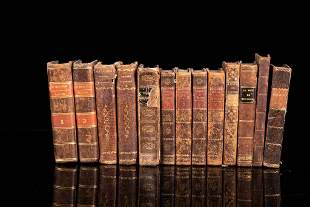 Set of 30 books with leather and half leather binding,