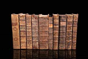 Set of 10 books with leather binding, 18th century, 8vo