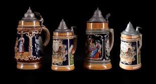 Set of 4 beautiful Hugé Jacques Saint Amand Grés mugs