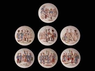 Beautiful set of 7 French Sarreguemines faïence plates