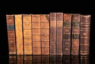 Set of 10 books with leather binding, 19th century