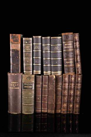 Set of 16 books with half leather binding, 19th