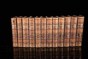 Set of 12 books with half leather binding, 19th