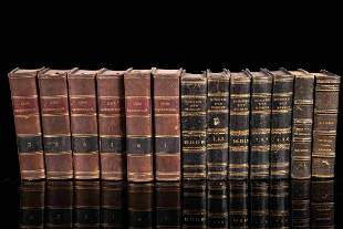 Set of 13 books with half leather binding, 19th