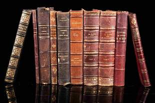 Set of 10 books with half leather binding, 19th