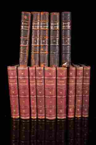 Set of 14 books with half leather binding, 19th