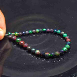 21.27 Ct Natural 35 Drilled Black Fire Opal Ball Beads