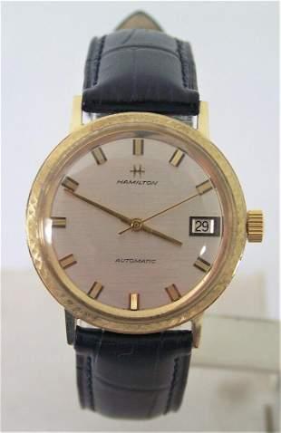 Vintage 14k HAMILTON Automatic Date Watch 1960s Cal