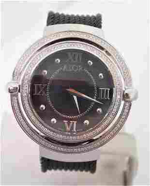 Ladies ALOR DIAMOND BEZEL & CABLE BAND STAINLESS STEEL