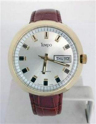 Gold Plated TEMPO Mens Drivers Automatic DAY DATE Watch