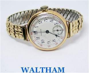 Vintage 14k Yellow Gold WALTHAM Ladies Winding Watch
