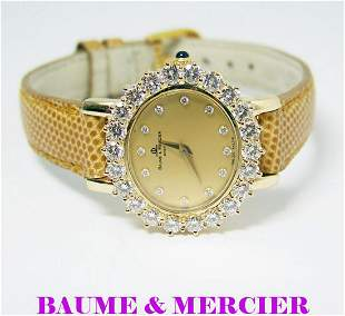 Solid 18k BAUME & MERCIER Ladies Watch with 2.5 ct