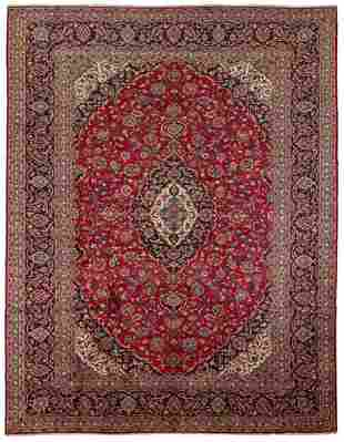 "Hand-knotted Kashan Wool Rug 10'0"" x 13'1"""