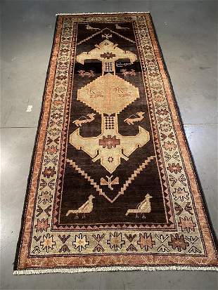 SIGNED AUTHENTIC VINTAGE PERSIAN RUG 4x9.7
