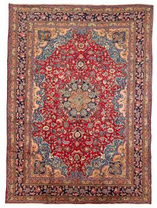 "Hand-knotted Sabzevar Wool Rug 9'8"" x 12'10"""