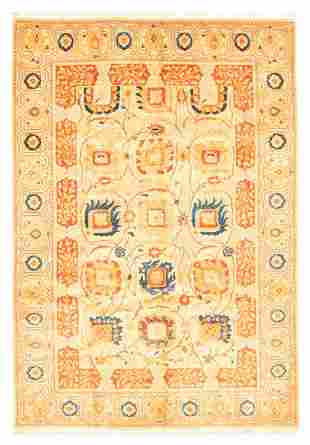 "Hand-knotted Pako Persian 18/20 Ivory Wool Rug 6'2"" x"