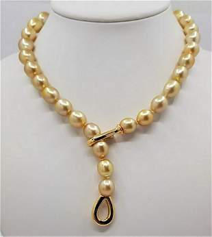 10x13mm Golden South Sea Pearls - Necklace