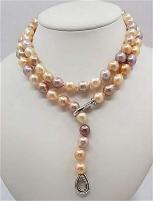 925 Silver - 10x12mm Multi Edison Pearls - Necklace