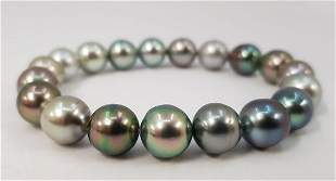 9.5x10.5mm Shimmering Round Tahitian Pearls - Bracelet