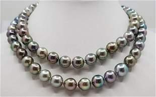 10x12mm Shimmering Multi Tahitian Pearls - Long