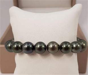 10.5x11.5mm Shimmering Round Tahitian Pearls - Bracelet