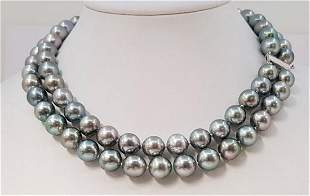 10x12mm Silvery Grey Tahitian Pearls - Double 2strand