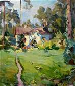 Oil painting House in the woods Unknown artist