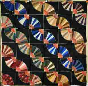 1900's Wool Fan Straight Furrows Quilt, Rainbow Colors