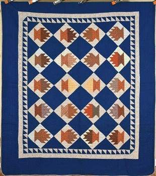 1870's Baskets Cake Stand Quilt, Sawtooth Border