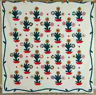 Flower Basket Quilt, Vine Border c. 1940