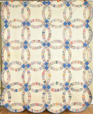 """30's Double Wedding Ring Quilt Dated """"1932"""""""