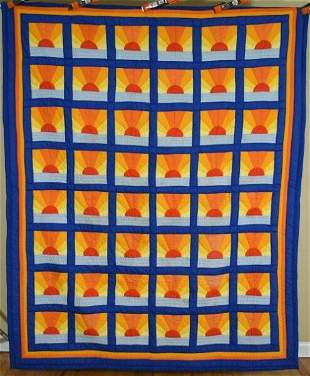 """Vintage """"Mexican Sunset"""" Quilt"""