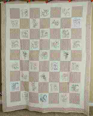 30's Ruby McKim Embroidered Flowers Quilt