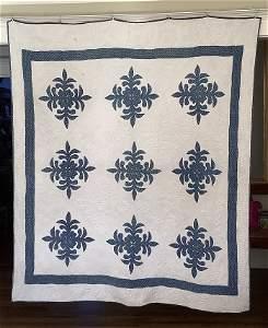 Trapunto Quilt 1858 Signed Indigo and White Quilt