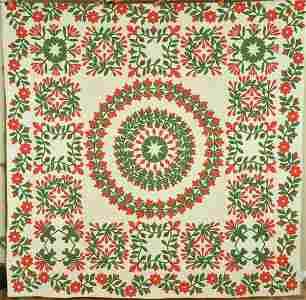 Rare Red & Green Album Quilt, Vine Border