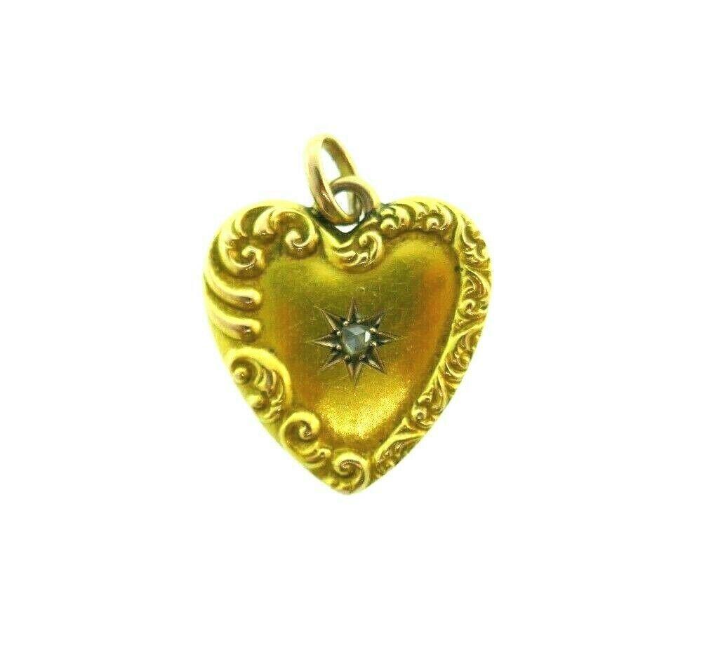 ANTIQUE VICTORIAN 19k Yellow Gold & Rose Cut Diamond