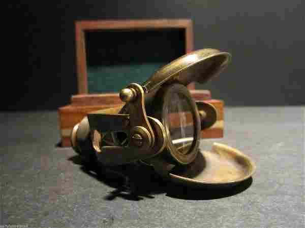 Brass Traveling Telescope Binoculars Monocular Wood Box
