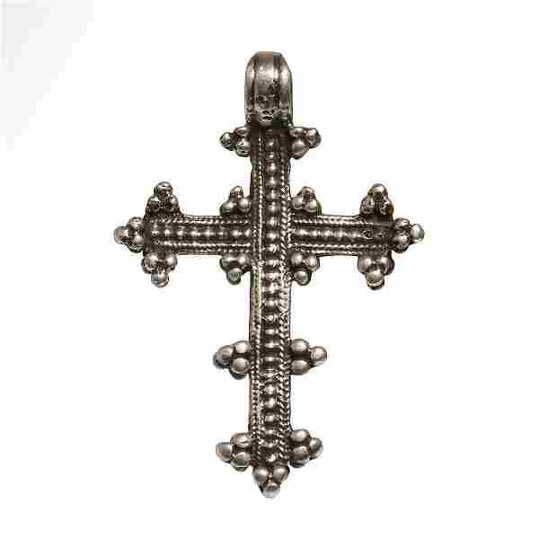 Medieval Crusaders Silver Cross with Granules