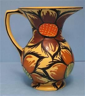 Vintage Hand Painted Czech Art Pottery Pitcher