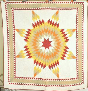 Well Quilted 1890's Lone Star Quilt