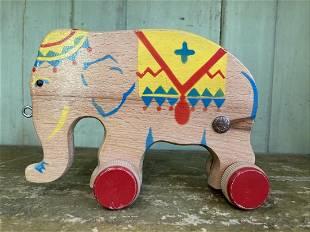 Primitive 1930-1950's Verhofa Wooden Circus Elephant